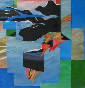 Landschap met wolken 32x31